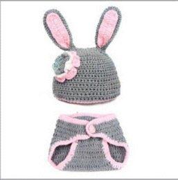 2017 sombreros trampero Conejo, recién nacido, niña, ganchillo, traje, foto, fotografía, prop, equipo, sombrero, # 22, niñas, trampero, sombreros sombreros trampero oferta