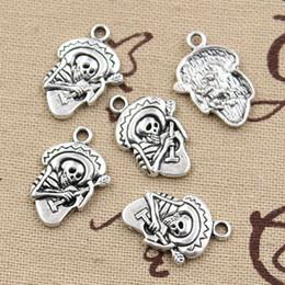 Wholesale 150pcs Charms skull guitar mm Antique Zinc alloy pendant fit Vintage Tibetan Silver DIY for bracelet necklace