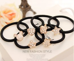 Wholesale Girls Women gift Rhinestone Alloy Cartoon Styles Stretch Rubber Ponytail Holders Hair Band Decoration Hair Rope