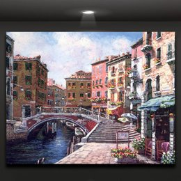 Romantic Venice Attractive Water City Scene Oil Painting Print on Canvas Wall Art for Home Office Hotel Mural Decor
