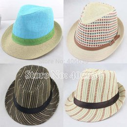 Wholesale summer straw fedora hats for men chapeau panama hats women trilby hats Jazz hats accept paypal