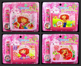 New cartoon Strawberry girl Faux Leather Quartz Watches and Wallet Sets Children Gifts biao95
