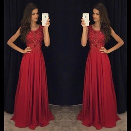 Red A-Line Prom Dresses Long 2017 New Elegant Jewel Sleeveless Evening Dresses with Beaded Crystal Pageant Dress BA2138