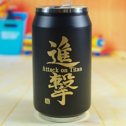 Wholesale Unique Creative Vacuum Stainless Steel Mug Cup Double Couple Cups Cartoon Attack on Titan