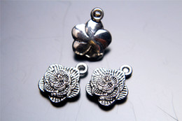 100pieces 16mm 3D Rose lover Flower Pendant Charms 7057 Beads Clasp Connector Plated Silver DIY Jewelry Necklace infinity Bracelets Earring