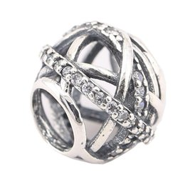 100% Sterling Silver Charms 925 Ale Rhinestone Hollow Out European Charms for Pandora Bracelets DIY Beads Free Shipping
