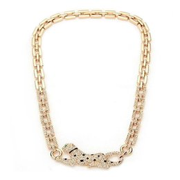 N20812 Luxurious Elegant white Crystal Panther Necklace Alloy plated 18K Rose Gold Rhodium with drop black oil Crystal Fashion Women Jewelry