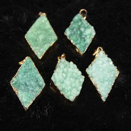 3pcs Free Natural Druzy Green Agate Women Connectors, Gold Plated Rhombus Crystal Quartz Drusy Agate Pendants Necklace Jewelry Drop Pendant