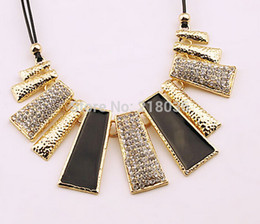 Vintage Gold Chunky Geometric Rhinestone Enamel Charms Choker Chain Statement Necklaces&Pendants Fashion Jewelry Friendship Gift 10PCS