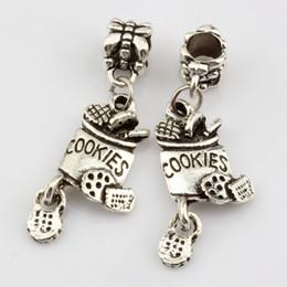 Wholesale Hot Antique silver Zinc Alloy cookies Charm Dangle Bead Fit Charm Bracelet x mm DIY Jewelry