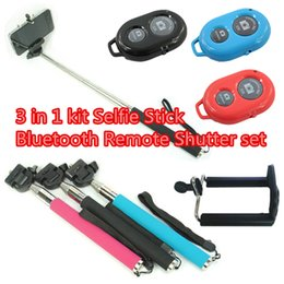 Wholesale 3 in kit selfie stick bluetooth remote shutter set Extendable Handheld Self portrait Monopod Self Photograph Bluetooth Shutter DHL Free