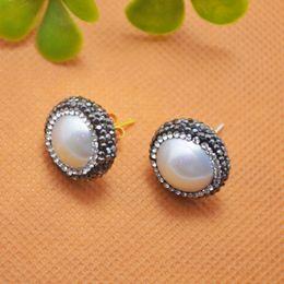 New Druzy ~ 5Pair Silver Plated Crystal Pearl Stud Earrings Jewelry Making