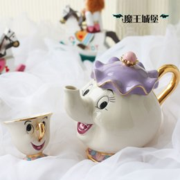 Wholesale Sales promotion Cartoon Beauty And The Beast Teapot Mug Mrs Potts Chip Tea Pot Cup One Set for friend Gift