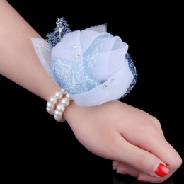 Wholesale Cheap Bridesmaid Girl Wrist Corsage Rose Flower Organza Beads Flower Hand Flowers Wrist Corsages Wedding Supplies Bridal Flowers