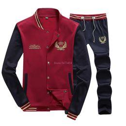 Wholesale FREE Men Sweatshirt famous brand mens tracksuit sport jacket suit sportwear baseball pants styles men clothing set jogging suit