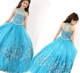 2015 Ball Gown Organza Crystal Beaded Halter Zipper Girls Pageant Dresses 2014 Flower Kids Wear Pageant Dresses For Toddlers Rachel Allan