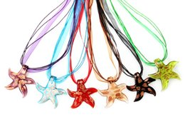 2016 New Fashion Handmade Gold Foil Starfish Animal Murano Glass pendant necklace Handmade Jewelry Wholesale Lots Colorful 6Mix Color