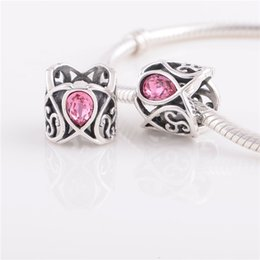 Wholesale Pave Beads Crystal Beads Sterling Silver Pink Stone Charm fit European Bracelets No YZ658