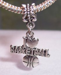 Wholesale Hot Sale Antique silver quot I Heart Basketball quot Love Sports Dangle Big Hole Beads Fit Charm Bracelet Jewelry DIY x x mm