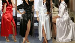 w1031 New 2015 Womens Long Black Sexy Silk Kimono Dressing Gown Bath Robe Babydoll Lingerie Nightdress free shipping
