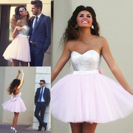 Wholesale 2015 Said Mhamad Baby Pink Sweetheart Ball Gown Homecoming Dresses Sequins Backless Short Cocktail Gowns Bow Prom Dress Fall Party Gown