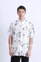 Wholesale-Free shipping 2016 new national trend chinese style top tradition Chinese dragon print Shirt mandarin collar shirt tang shirt