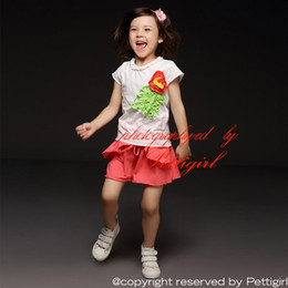 Pettigirl New Summer 2 Pieces Girl Clothing Set White Cotton Shirt With Corsage And Pink Shorts Kids Suits Fancy Children Clothes CS40322-3