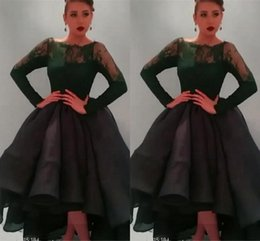 Wholesale 2015 Best Selling Sheer Neck Long Sleeve Prom Dresses Tea length Ruched Organza Puffy Ball Gown Prom Dresses Stylish Lace Evening Dresses