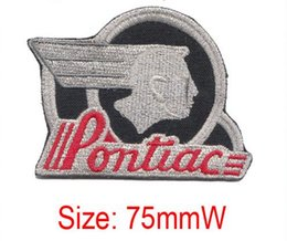 silver metall cool Pontiac logo embroidery patch personality Iron on accessories low price embroidery can be customized Fabric Sewing
