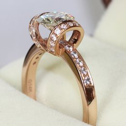 FG Absolutely Gorgeous 14K Rose Gold Charles&Colvard Brand Luxury 1 ct Moissanite Wedding Ring Ribbon Style