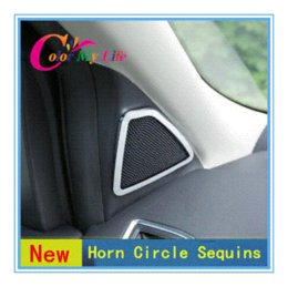 Wholesale New Model Interior car horn circle chrome sticker case for Ford KUGA Escape car accessories