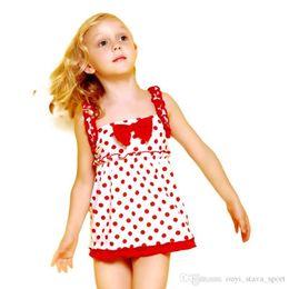 Pequeñas faldas de los niños en Línea-2016 El nuevo vestido del verano del estilo de la venta caliente con el traje de baño de los niños lindos del Bowknot embroma el pequeño bañador de la honda del cordón de la falda de los regalos para la ji de las muchachas