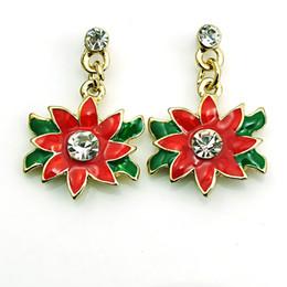 Hot Sale Wholesale Charms Earings Dangles Red Rhinestone Flower Eardrop Fashion Christmas Earrings For Women Jewelry