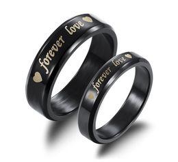 Wholesale Couple Wedding Rings Black Heart - Fashion Jewelry Black Titanium Steel Ring Forever Love Heart Letter Lovers Wedding Engagement Couple Rings For Women Men ty