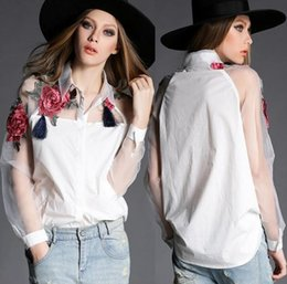 New Spring Summer Women's Rose Embroidery Shirt Organza Long Sleeve Patchwork Loose Tops Cotton Blouse Shirt White