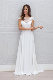 2016 Lace Chiffon Wedding Dresses with Capped Sleeves A Line Sheer Neck Wedding Gowns Custom Made Wedding Party Dress Cheap Bridesmaid Dress