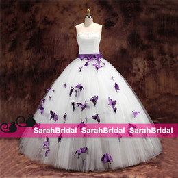 Wholesale 2015 Purple Butterfly Wedding Dresses for Unique Brides Hot Sale Cheap Pearls Beaded Strapless Bow Knot Corset and Tulle Ball Bridal Gowns