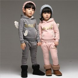 Wholesale new korean Childrens Clothing winter girls boys wing shape long sleeved sweater with hat thick pants sets EE