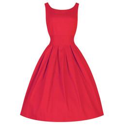 Wholesale-2015 Audrey Hepburn Vestidos M-3XL 4XL 5XL Plus Size Women Summer Retro Red Party Wedding Club Rockabilly Vintage 50s Dresses