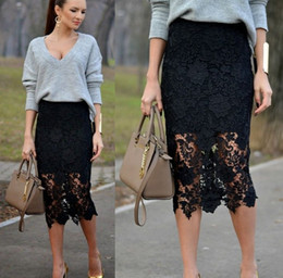 Black Lace Skirt Knee Length Pencil Midi Skirts New Arrival Elegant Cocktail Party Skirts for Women