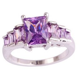 Wholesale Newfashioned Emerald Cut Amethyst 925 Silver Ring Size 6 7 8 9 10 Engagement Jewelry