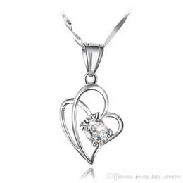 Acheter en ligne Croix d'argent-925 bijoux en argent sterling bijoux pendentif colliers bijoux vintage diamante double croix en forme de coeur en forme