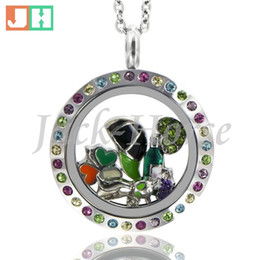 25mm multi color crystal locket! stainless steel twist waterproof locket round floating locket necklace