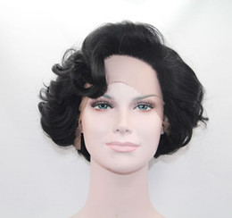 factory price short curly hair synthetic lace front wigs heat resistant natural black hair for old women