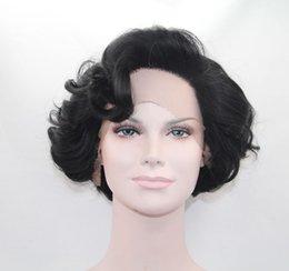 precio de fbrica pelo rizado corto pelo sinttico frente pelucas pelo negro natural resistente al calor