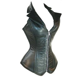 Wholesale Women s Leather Corset Lingerie Bustier Top with G string Black Color AME