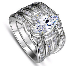Wholesale Size Retro Jewelry kt white gold filled topaz Pear cut Simulated Diamond Women Wedding Ring set in gift with box