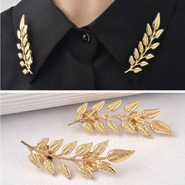 Wholesale 2015 Hot Sold Vintage Design Of Golden Leaf Type Shirt Of Brooch Collar Button Collar Clip