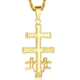 Wholesale Unisex Accessories Titanium Steel Pendant Necklace Cross Little Angel Jesus Taught PN