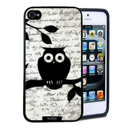 Wholesale Cute Black Leaves Owl Design Hard Plastic Mobile Phone Case Cover For iPhone 4 4S 5 5S 5C